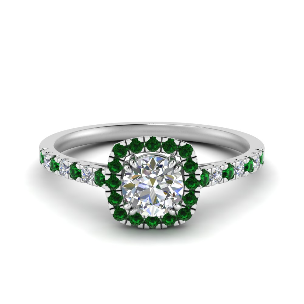 square halo french pave diamond engagement ring with emerald in FD9155RORGEMGR NL WG.jpg