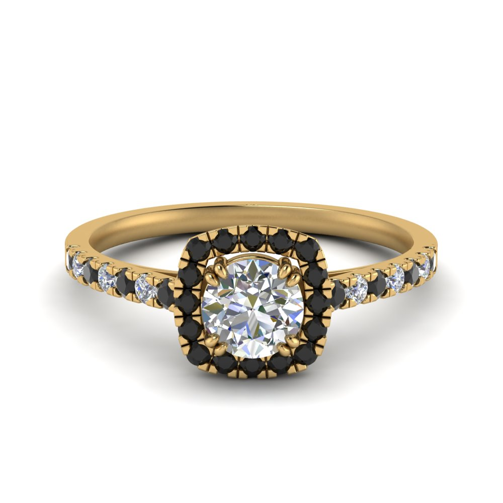 square halo french pave engagement ring with black diamond in FD9155RORGBLACK NL YG.jpg