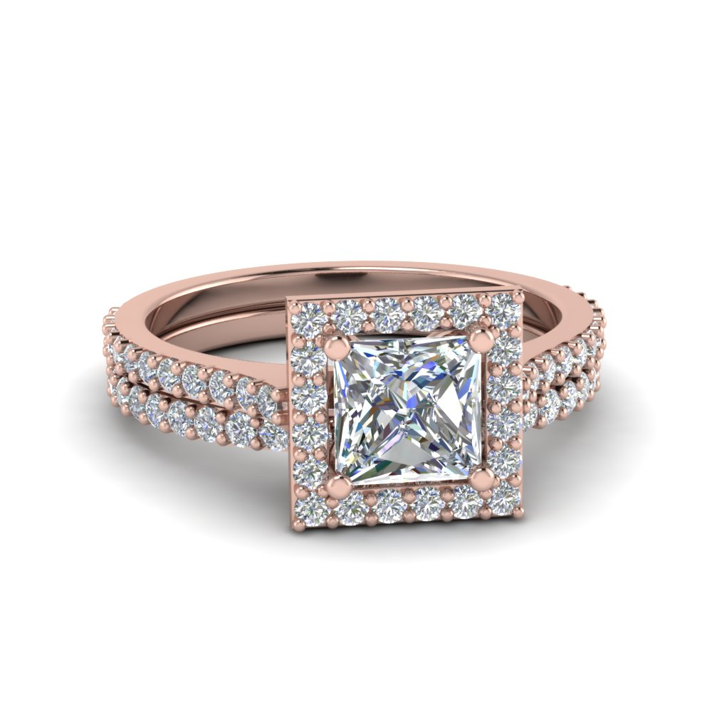 Square Halo Princess Cut Diamond Bridal Set In 14K Rose Gold FD8165PR NL RG
