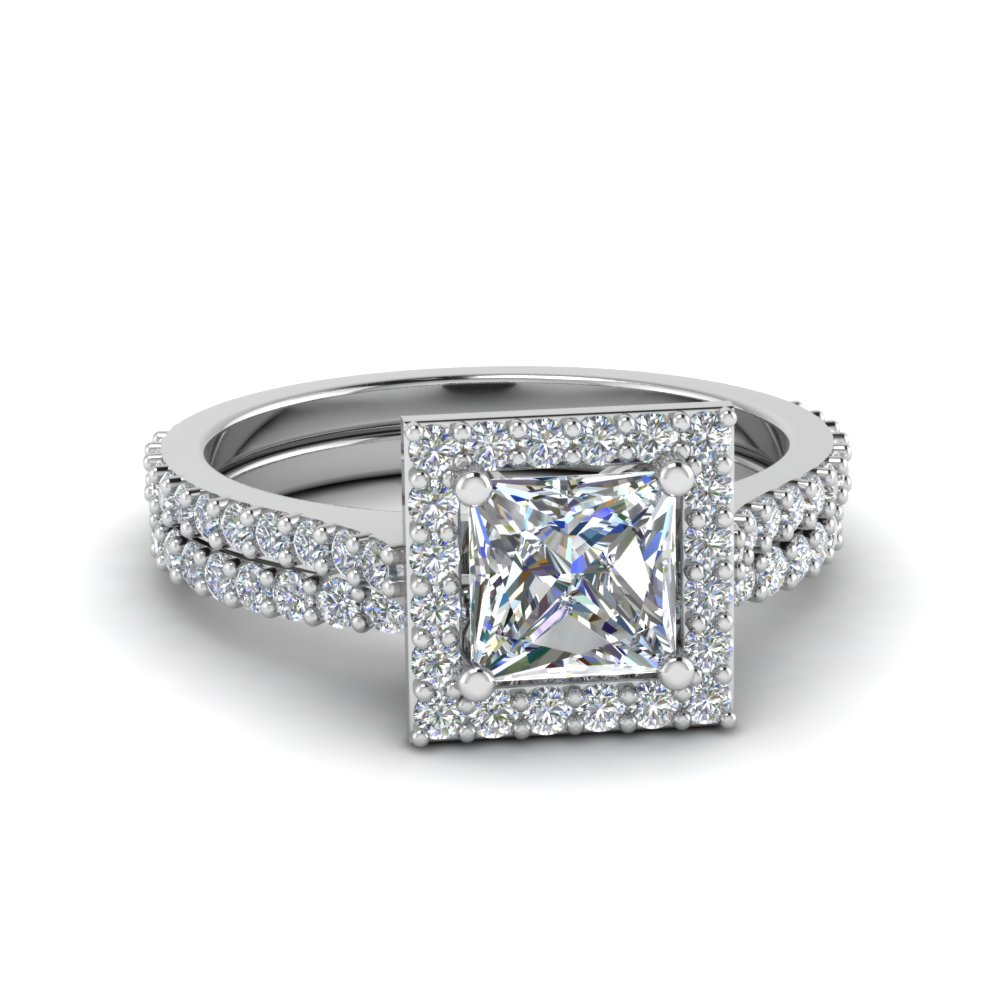 square halo princess cut diamond bridal set in 14k white gold - Square Cut Wedding Rings