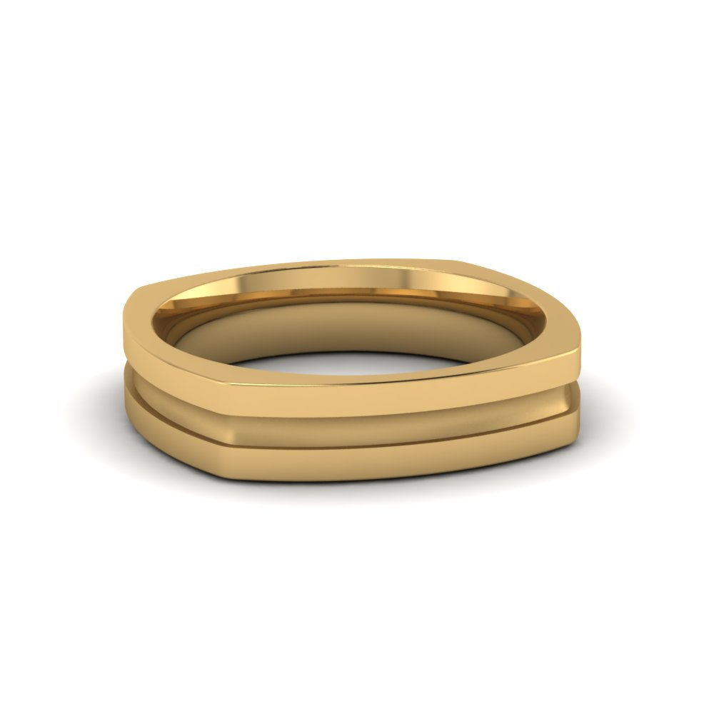 square mens gold mens wedding band comfort fit ring in 14K yellow gold FDMSQ460B NL YG