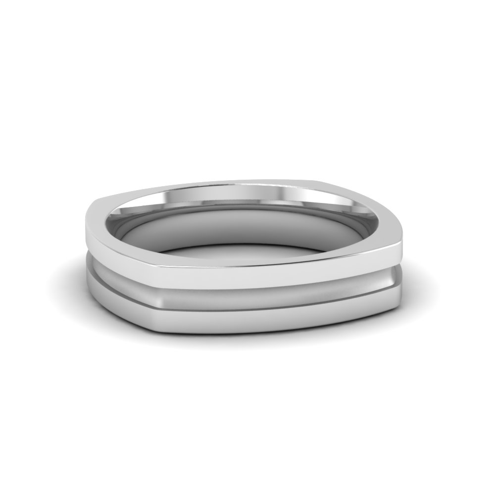 Single Inlay Square Mens Wedding Band In Fdmsq460b Nl Wg