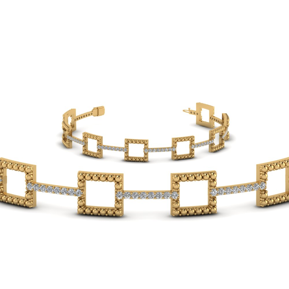 square milgrain diamond bracelet in 14K yellow gold FDOBR70335ANGLE2 NL YG