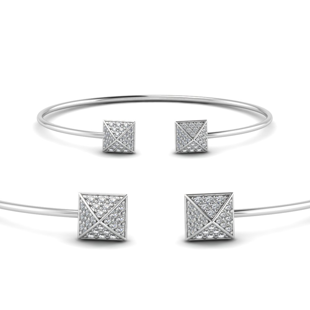 square pave diamond open cuff bracelet in 950 platinum FDCMJ2610BANGLE2 NL WG