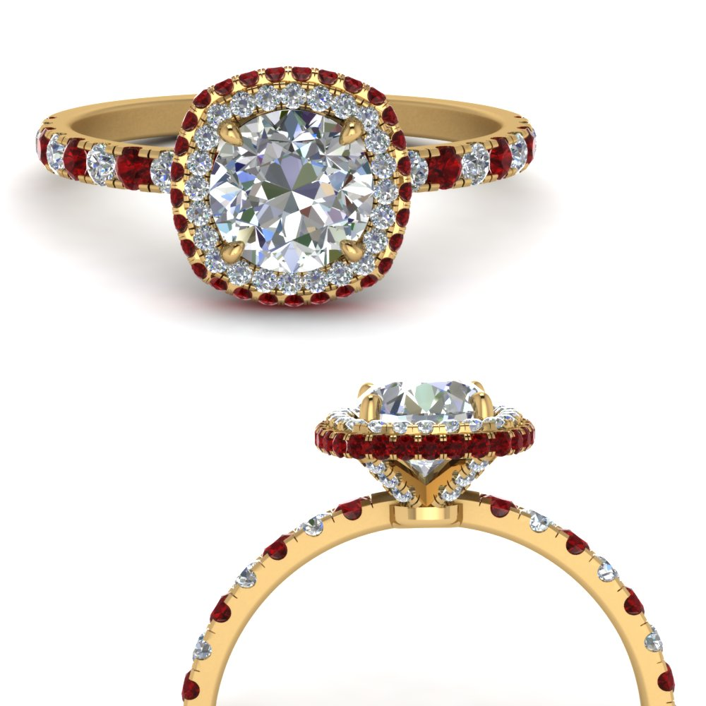 square petite under halo diamond engagement ring with ruby in yellow gold FD9158RORGRUDRANGLE3 NL YG