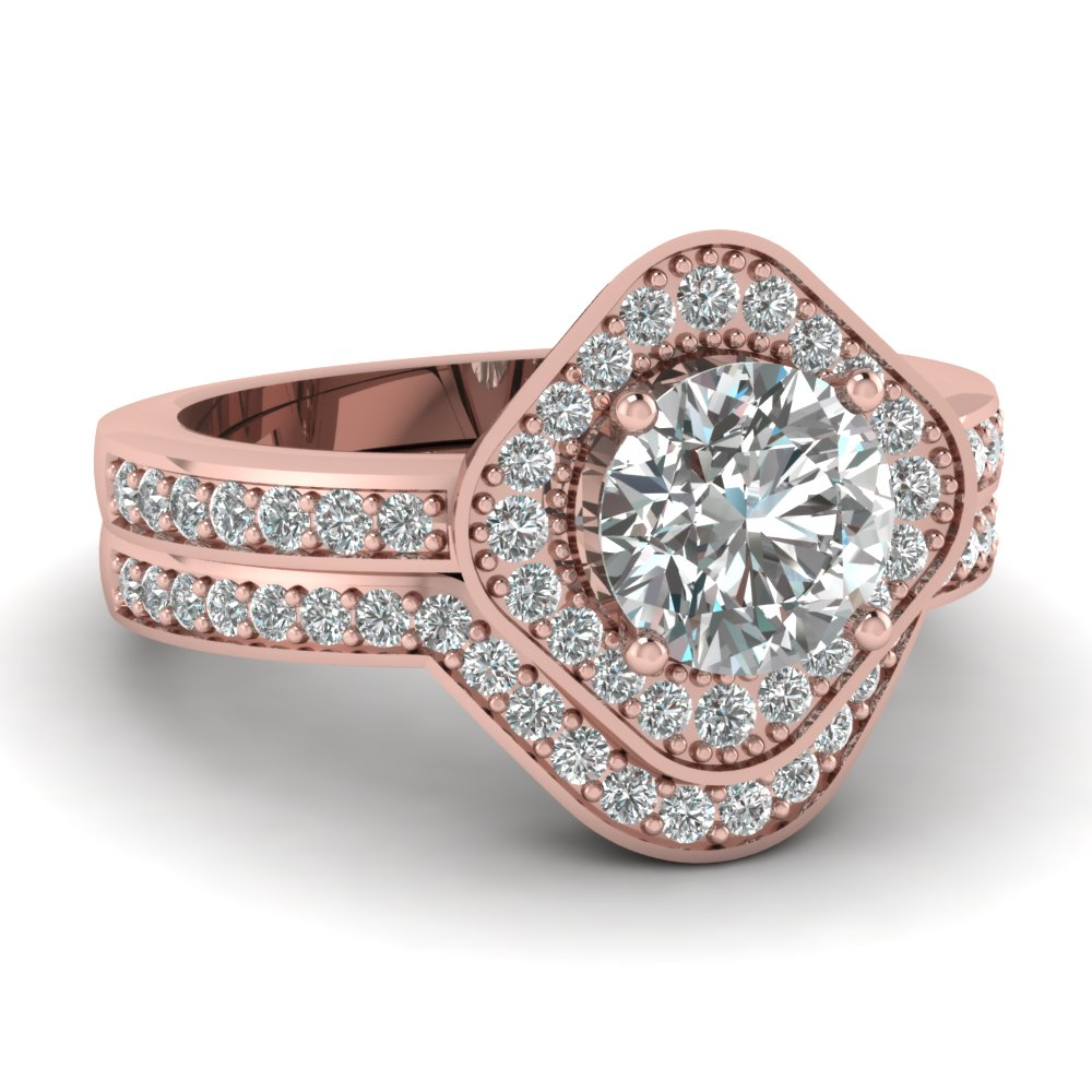 ct rose gold rings shank tw pave engagement diamond ring wedding round in square twisted halo with cut