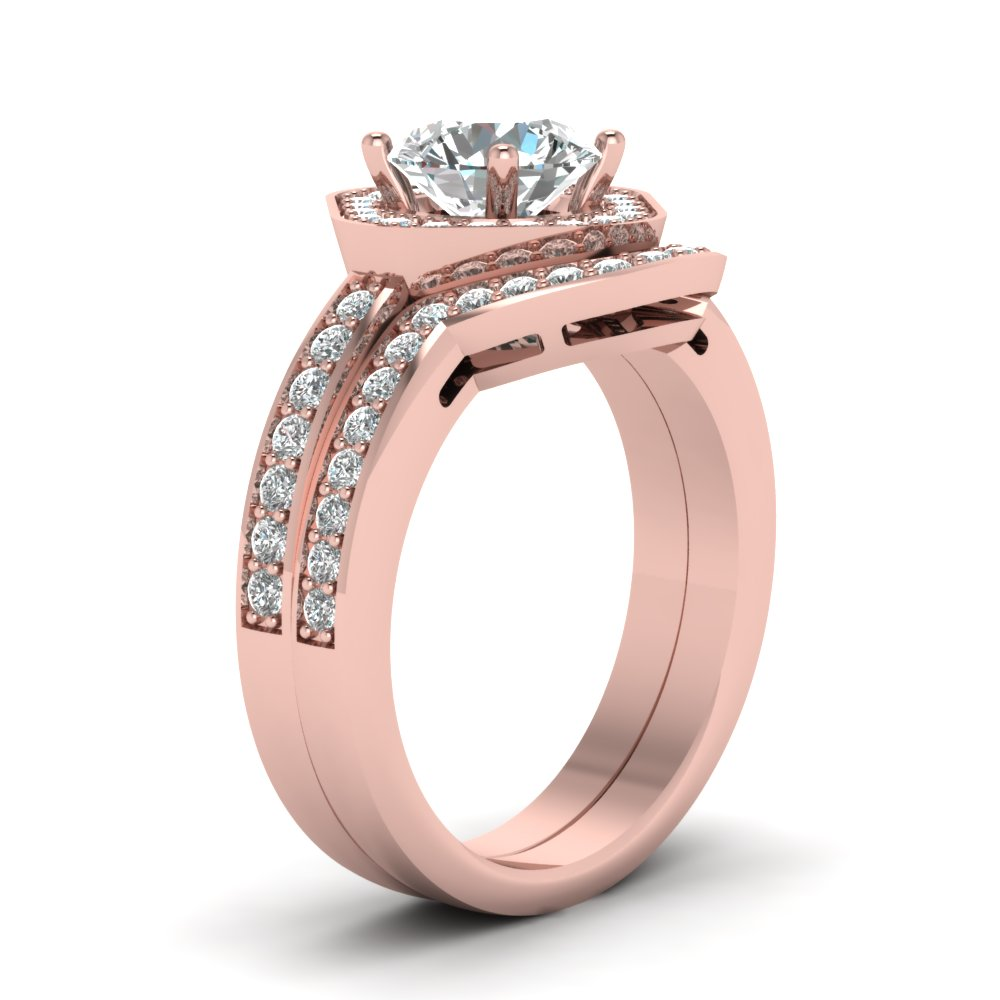 Square Round Halo Bridal Womens Wedding Ring Sets In 14K Rose Gold ...