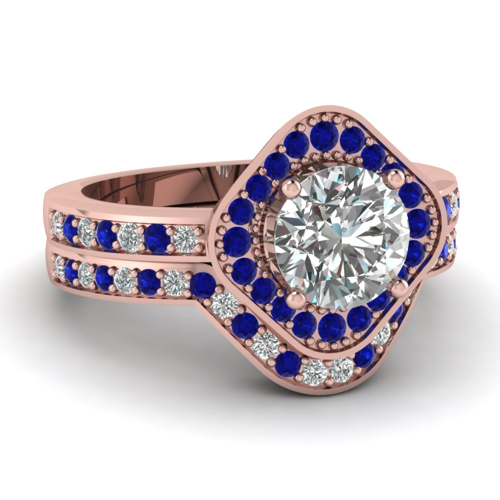 Halo Ring With Contoured Sapphire Band