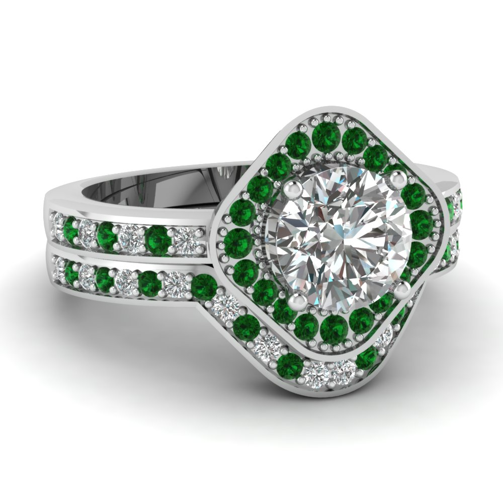 Square Round Halo Bridal Womens Wedding Ring Sets With Emerald In ...