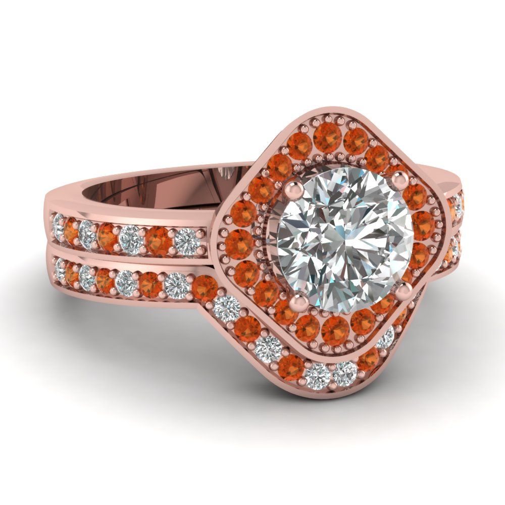 Square Round Halo Bridal Womens Wedding Ring Sets With Orange ...