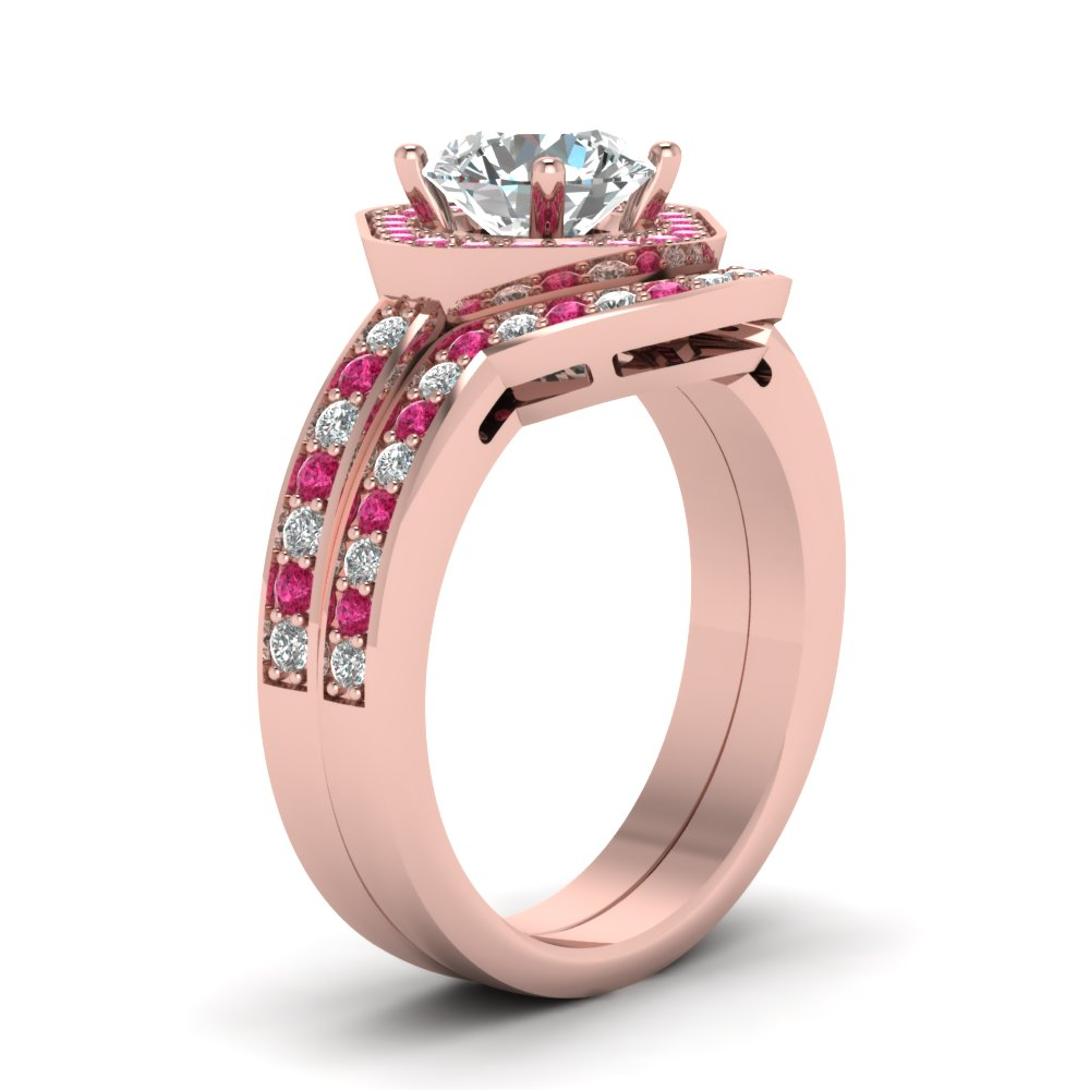 Square Round Halo Bridal Womens Wedding Ring Sets With Pink Sapphire ...