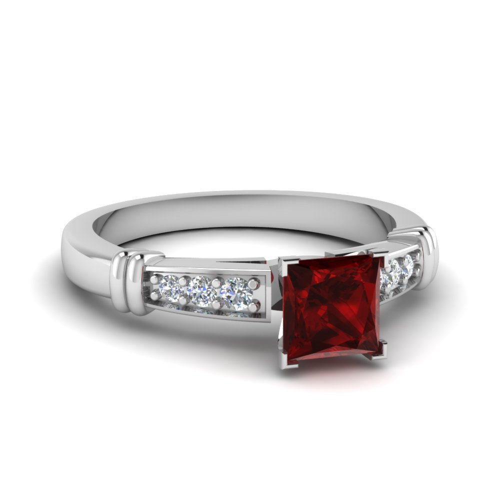 Colored Ruby Pave Ring
