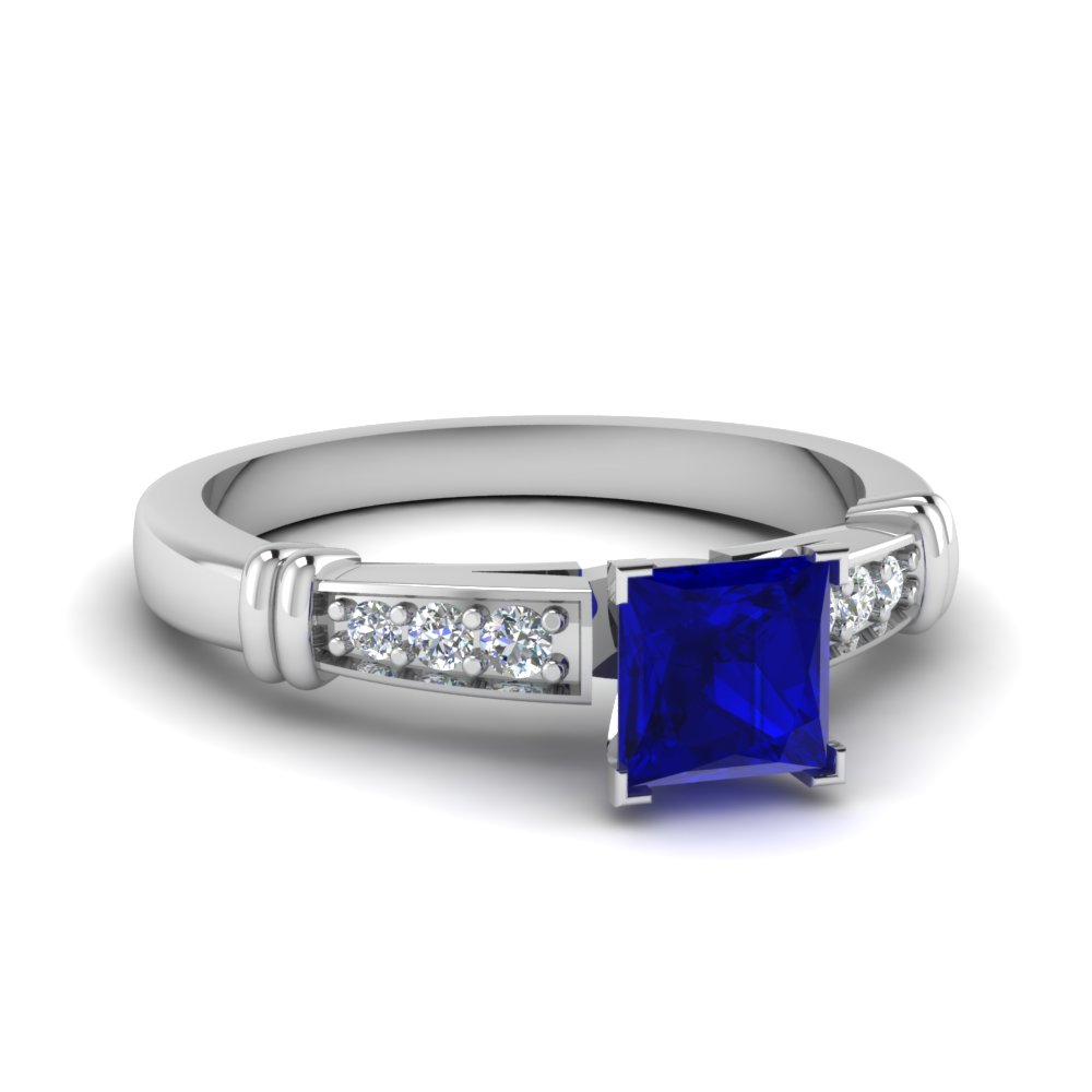 Square Sapphire Pave Ring