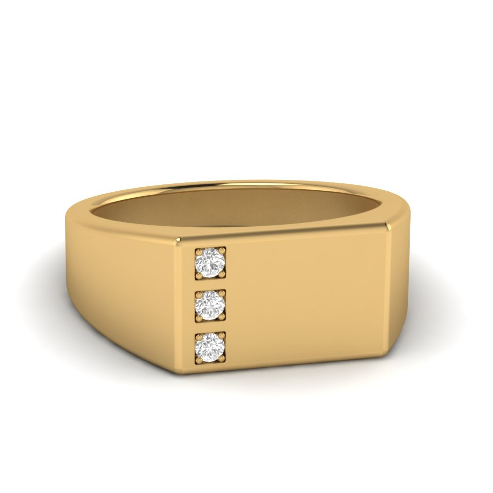 Square Three Stone Mens Diamond Ring In 14k Yellow Gold Fascinating Diamonds