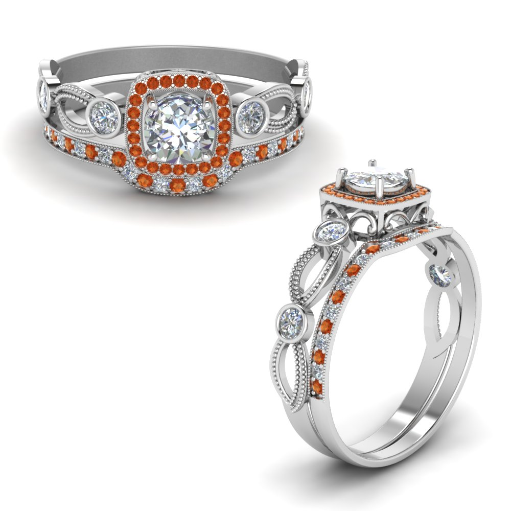 square-vintage-diamond-bridal-set-with-orange-sapphire-in-FD8590ROGSAORANGLE1-NL-WG