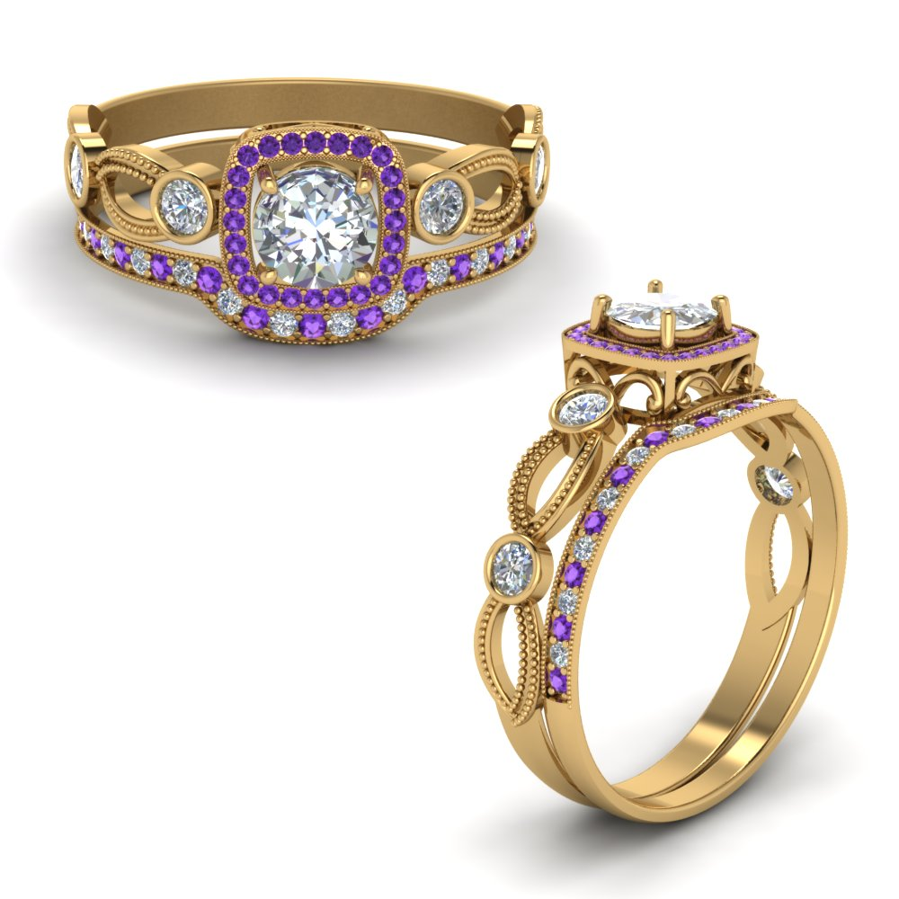 square-vintage-diamond-bridal-set-with-purple-topaz-in-FD8590ROGVITOANGLE1-NL-YG