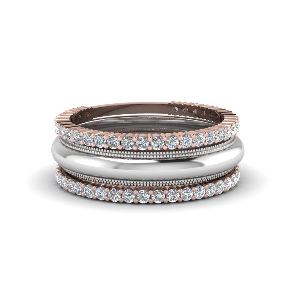Stackable Two Tone Wedding Band For Women