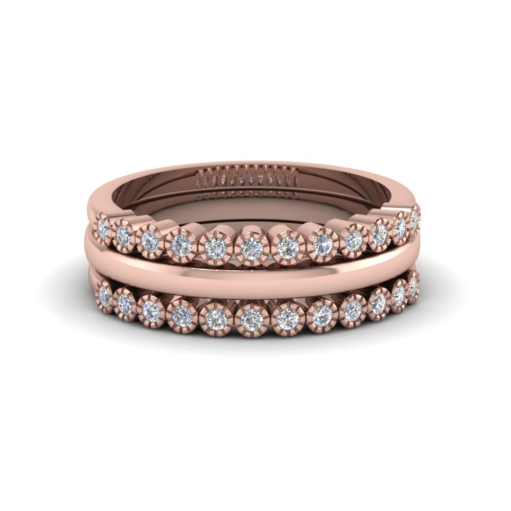 Three Milgrain Style Diamond Bands in Rose Gold Forming a Stacking Ring Set