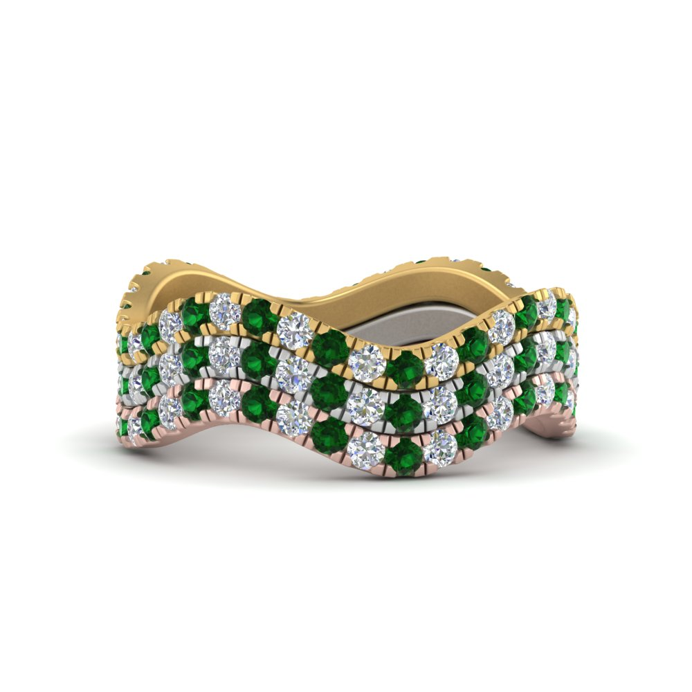 stacking-3-tone-wave-diamond-ring-with-emerald-in-white-gold-FD124152GEMANGLE3-NL-WG