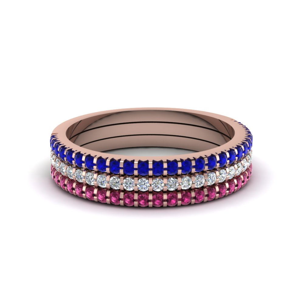 Stacking Wedding Bands With Sapphires In 14k Rose Gold Fascinating