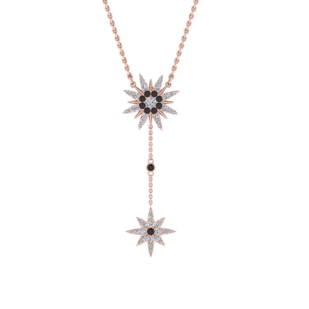 Star Drop Black Diamond Necklace