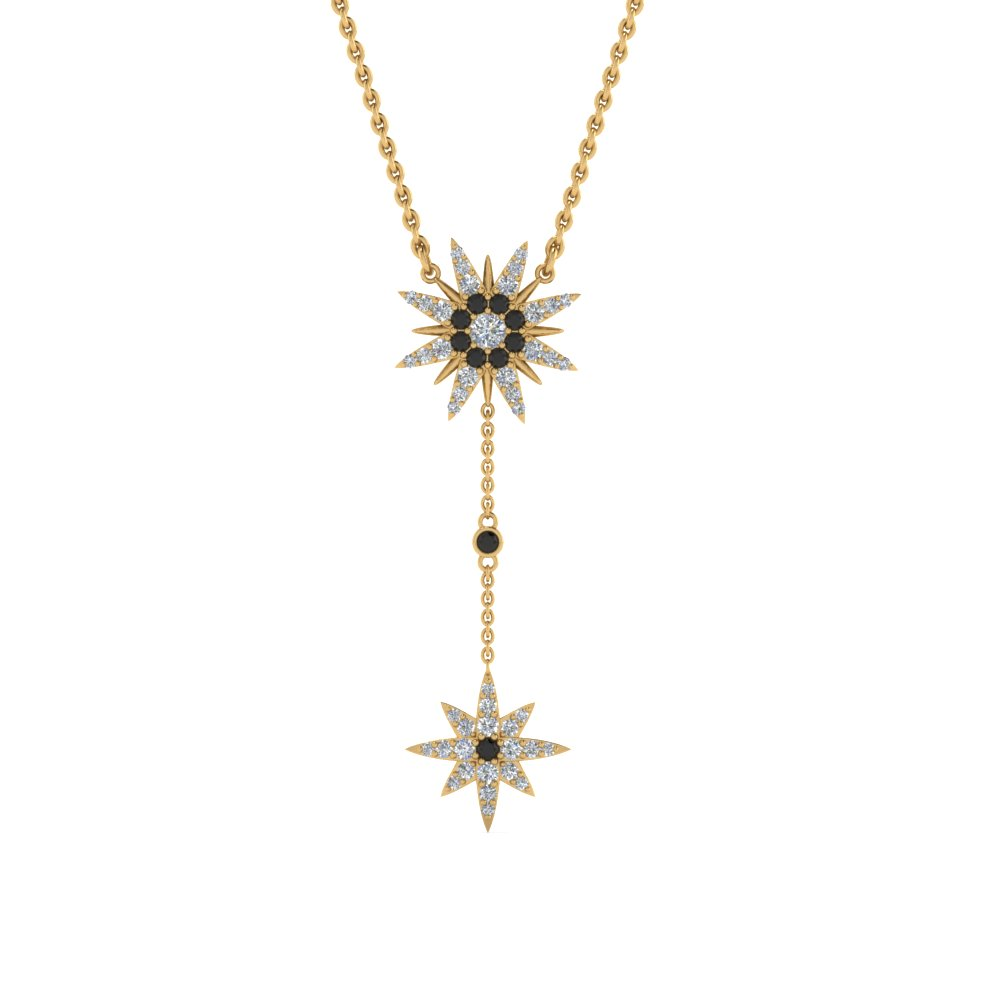 star drop necklace with black diamond in FDPD8409GBLACKANGLE2 NL YG