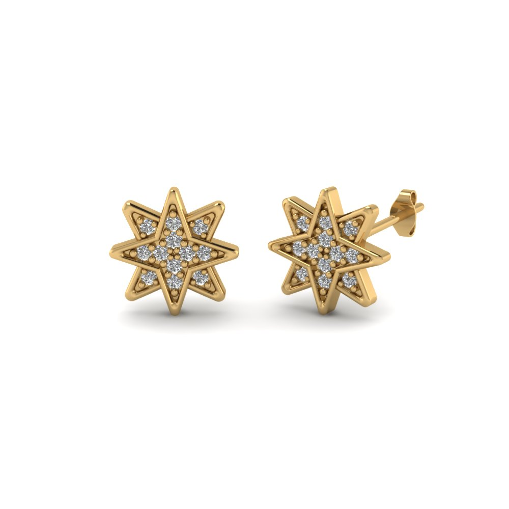 aa52a5274 Star Stud Cluster Diamond Earring In 14K Yellow Gold | Fascinating ...