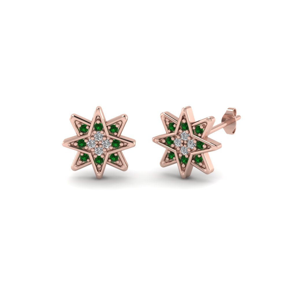 Star Stud Emerald Earring