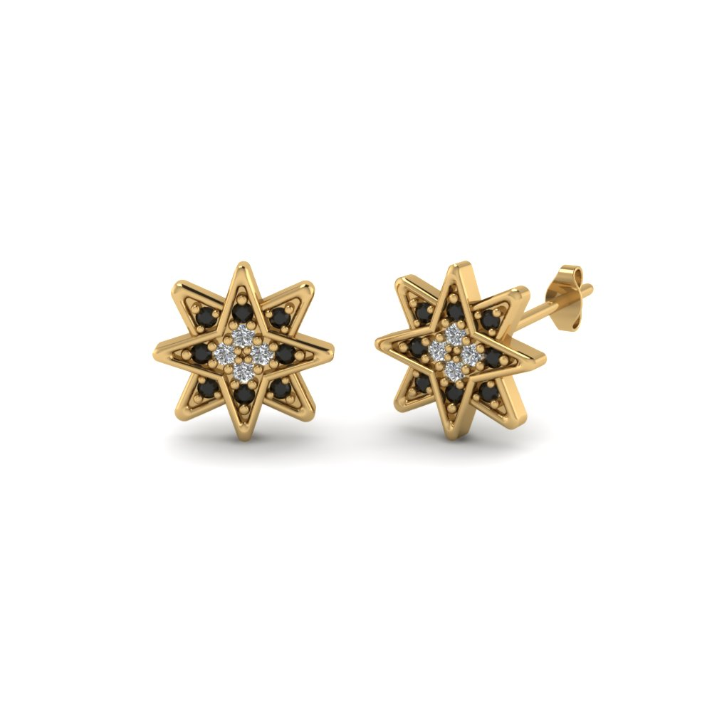 Star Stud Cer Round Earring With Black Diamond In 14k Yellow Gold Fdear86435gblack Nl Yg