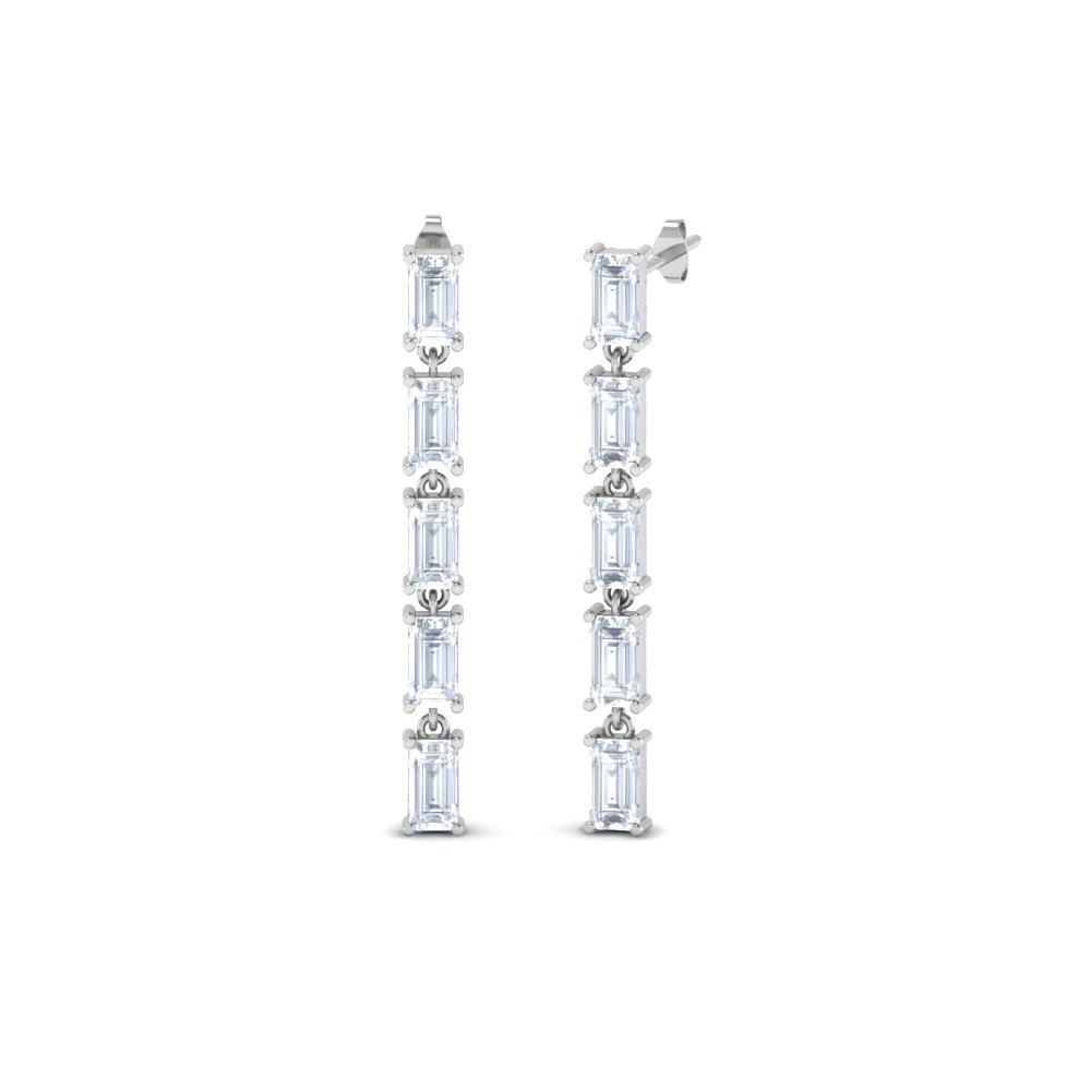 5 Baguette Diamond Drop Earring