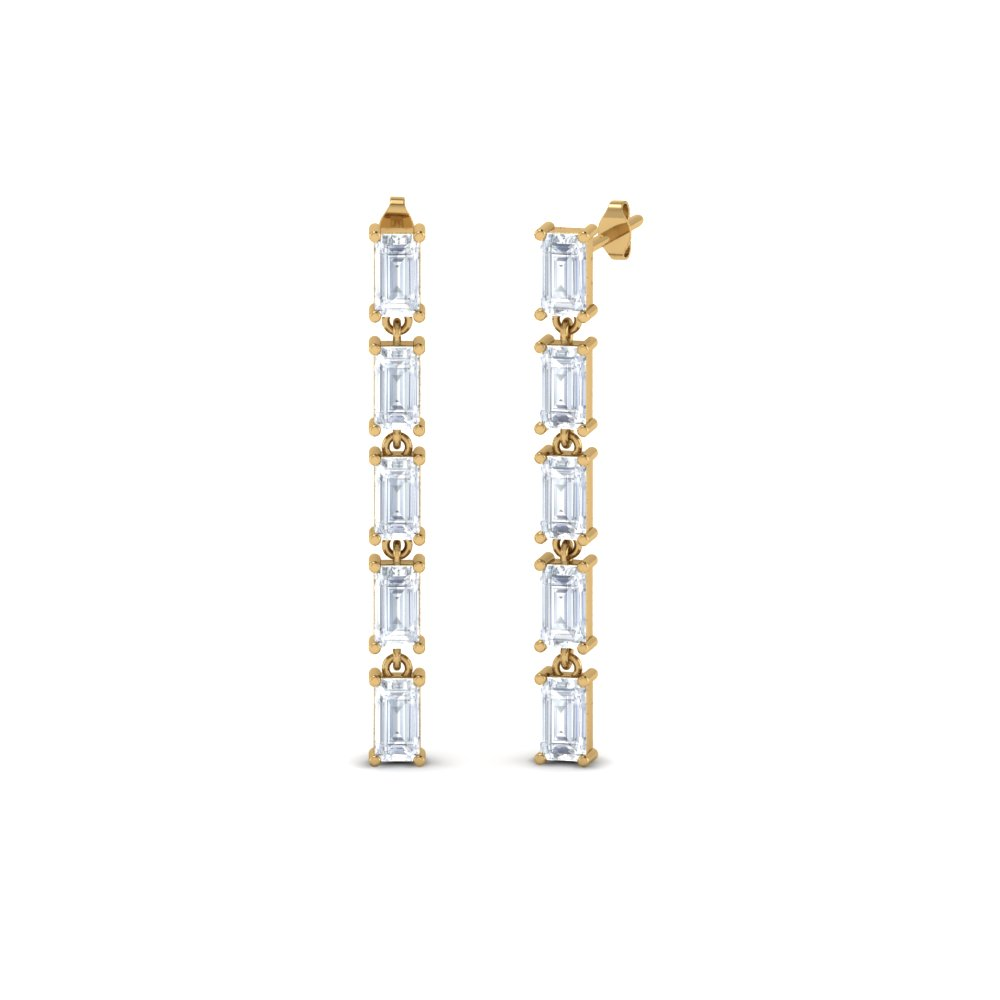 straight baguette diamond drop earring in 18K yellow gold FDEAR8424 NL YG