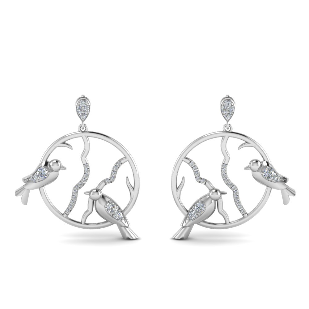 stud bird drop diamond earring in FDEAR8972ANGLE1 NL WG