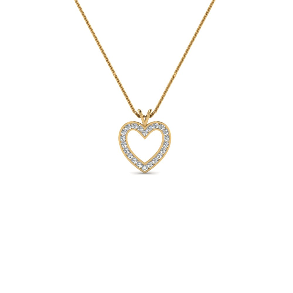 Find deals on diamond heart pendant necklaces fascinating diamonds yellow gold pave diamond heart pendant necklace aloadofball Choice Image
