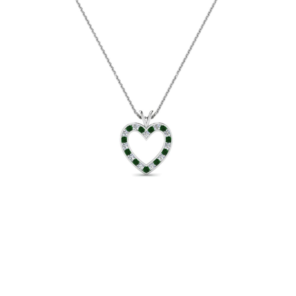 Open Heart Emerald Pendant