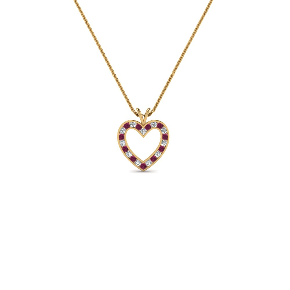 Yellow Gold Pink Sapphire Heart Necklace