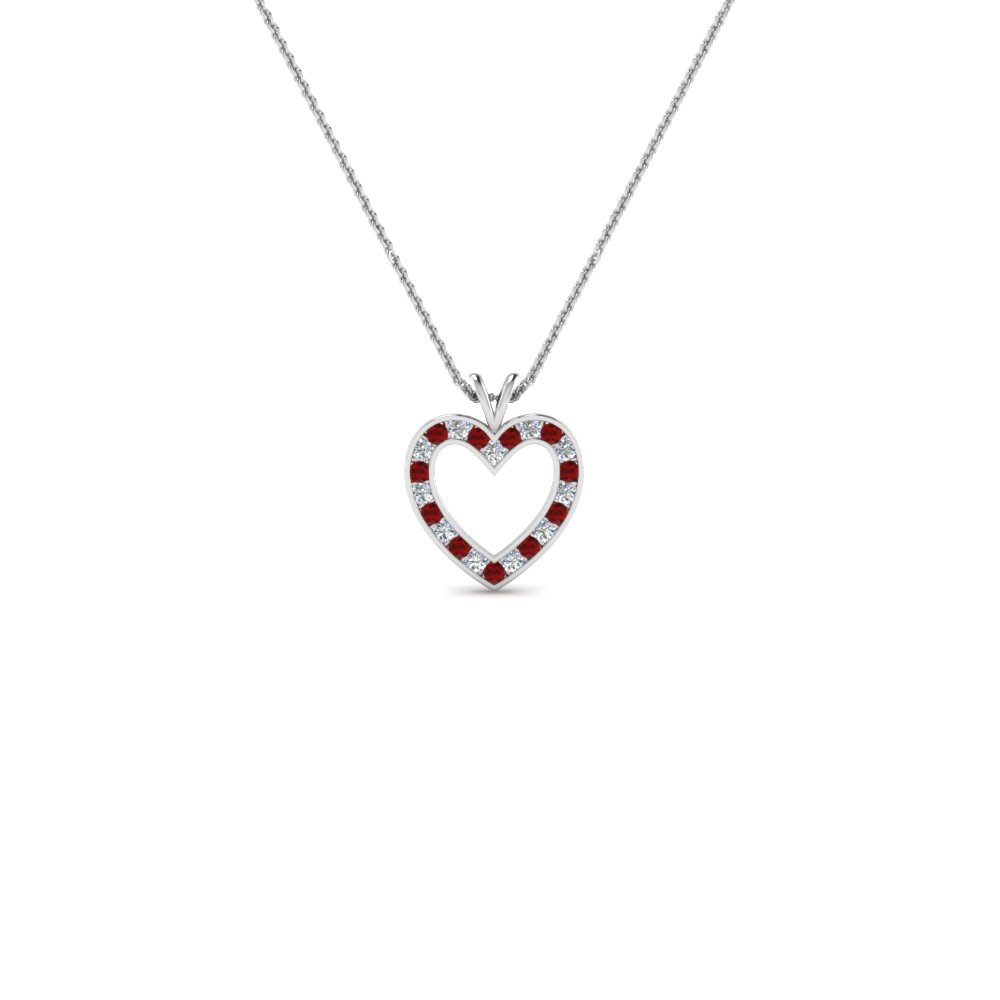 stunning diamond heart pendant for women with ruby in FDHPD200WDGRUDR NL WG