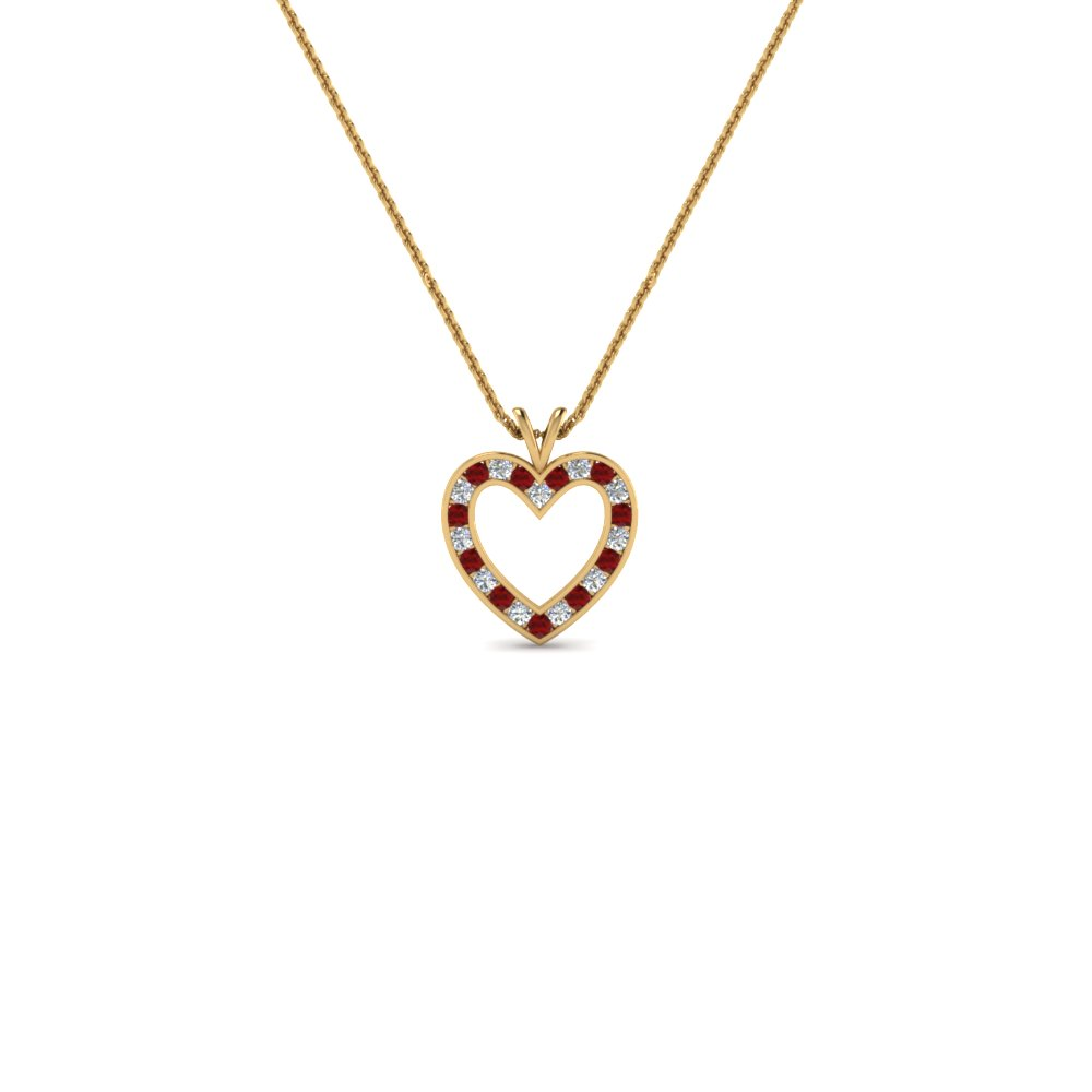 stunning diamond heart pendant for women with ruby in 14K yellow gold FDHPD200WDGRUDR NL YG