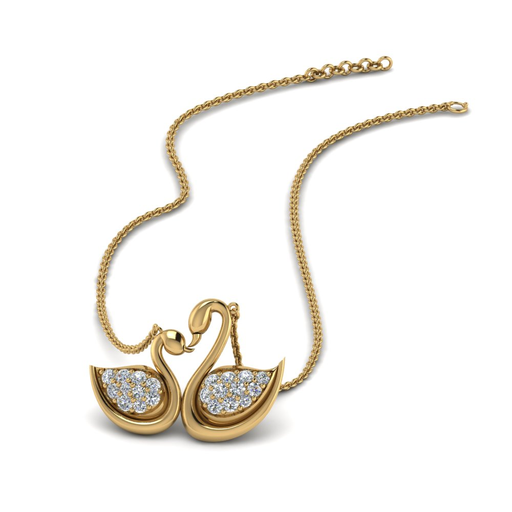 swan design mothers diamond necklace in FDPD8905 NL YG
