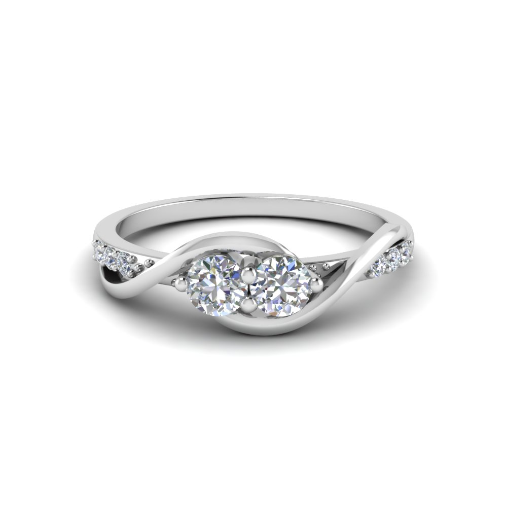 Swirl 2 Stone Diamond Engagement Ring In 18K White Gold