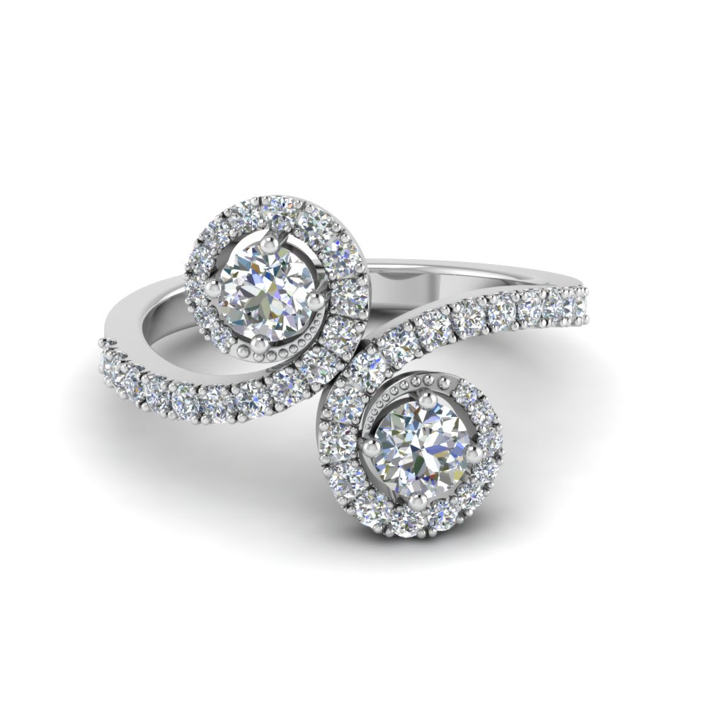 Two Stone Round Cut Engagement Ring