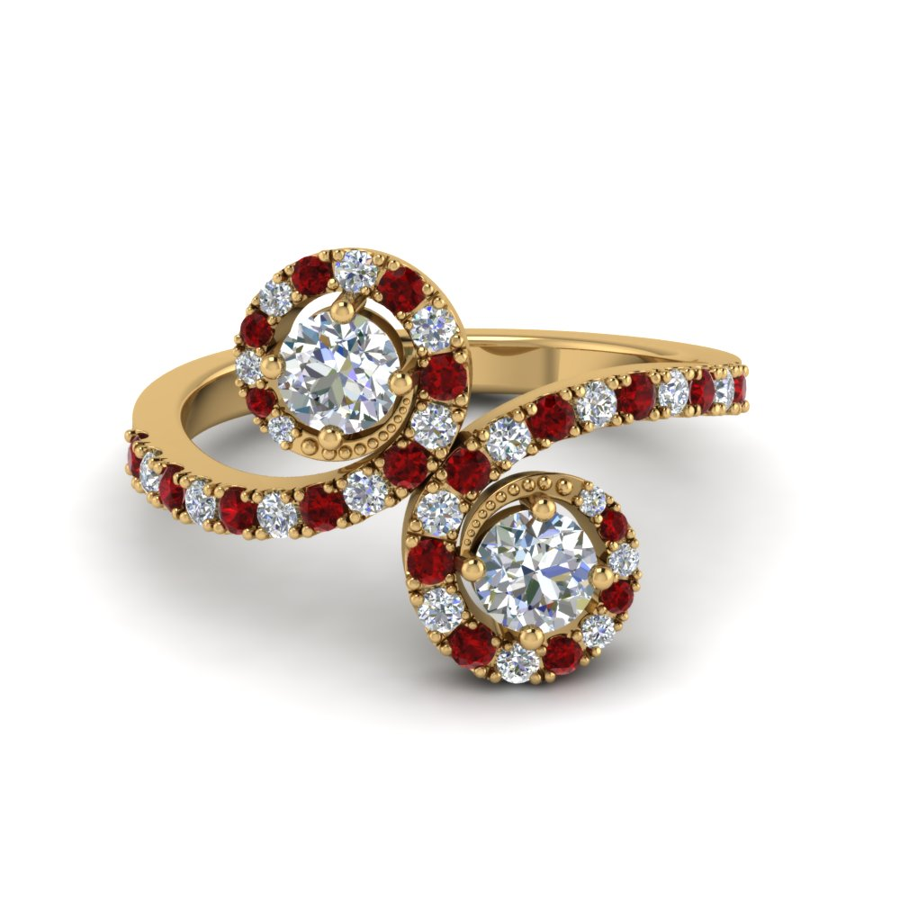 Pave Set Diamond and Ruby 2 Stone Engagement Ring for Women in Yellow Gold