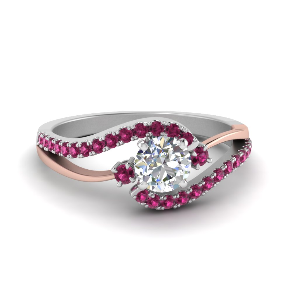 Swirl 3 Stone Pink Sapphire Promise Ring