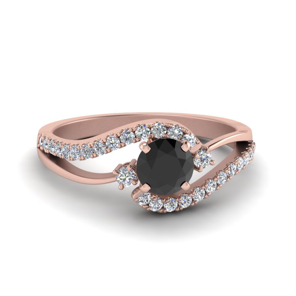 Swirl 3 Stone Black Diamond Ring