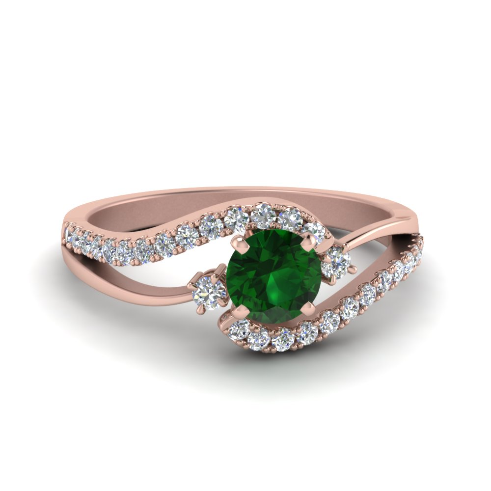 Swirl 3 Stone Emerald Engagement Ring