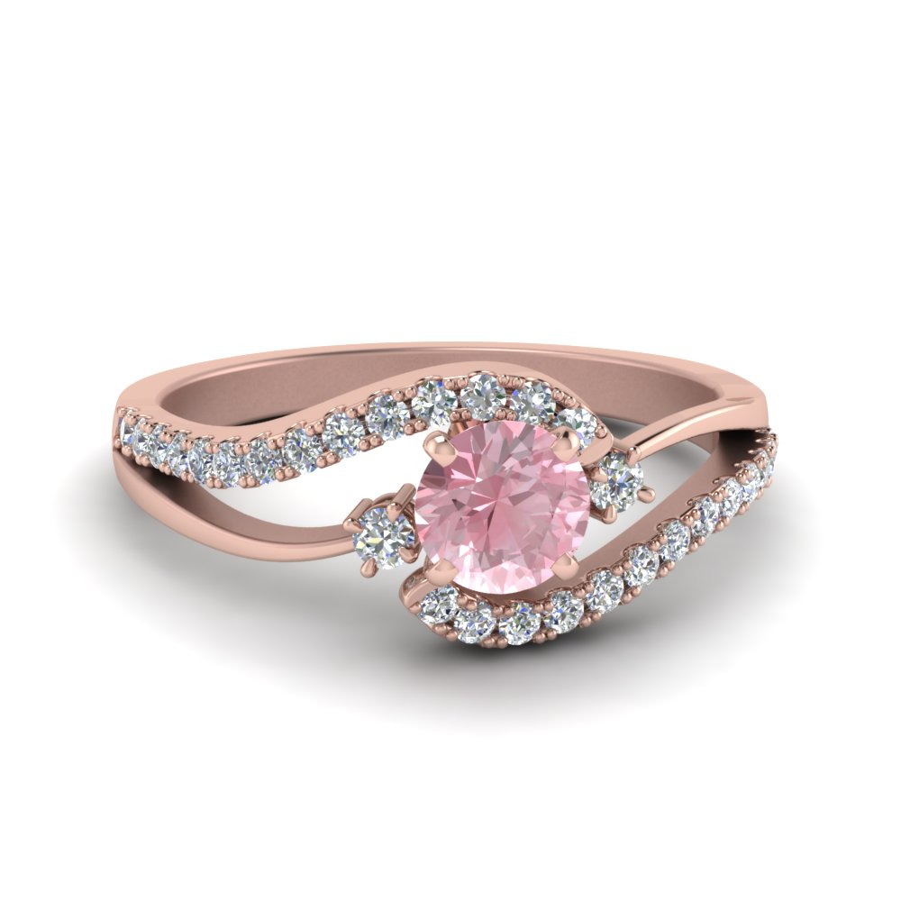 Swirl 3 Stone Morganite Ring