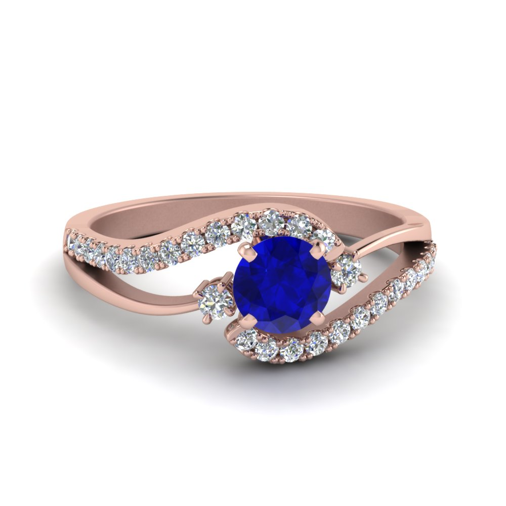 swirl 3 stone sapphire engagement ring in FDO50895RORGBS NL RG