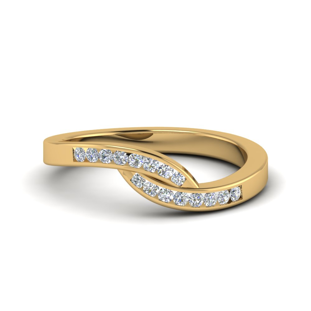 Swirl Channel Diamond Gold Band