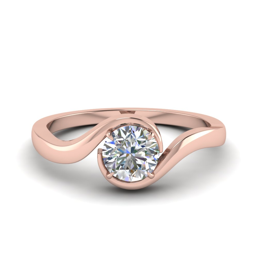 Swirl Diamond Solitaire Engagement Ring