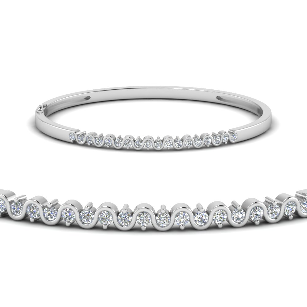 Swirl Diamond Bracelet Bangle In 18K White Gold