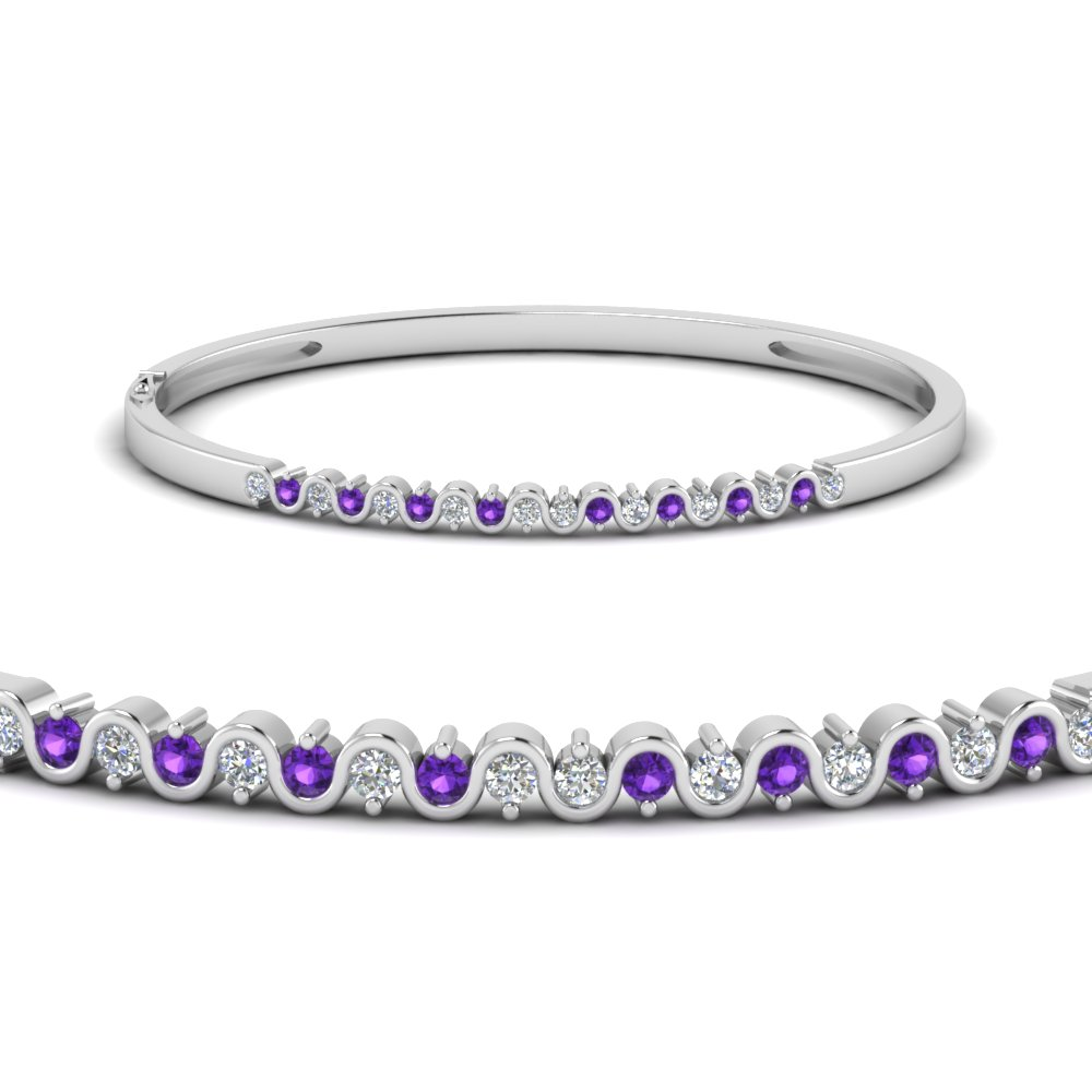 swirl diamond bracelet bangle with purple topaz in FDBRC53GVITOANGLE1 NL WG